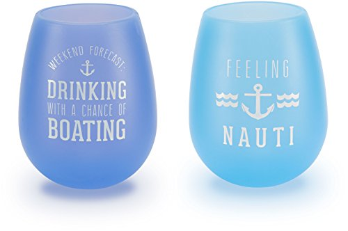 y We People The Boat Life Purple and Blue Silicone Wine Glass Set, Multicolor ()