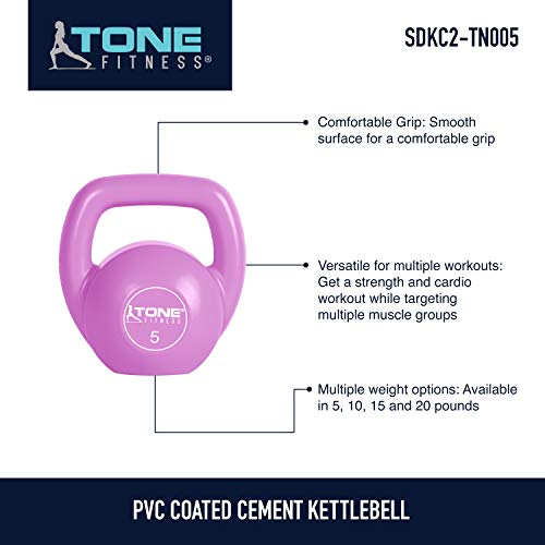 Tone Fitness Vinyl Kettlebell, 5-Pound, Pink by Tone Fitness (Image #5)