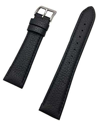 - 20mm Black Genuine Leather Watch Band | Matte, Shrunken Grained, Lightly Padded Replacement Wrist Strap That Brings New Life to Any Watch (Mens Standard Length)
