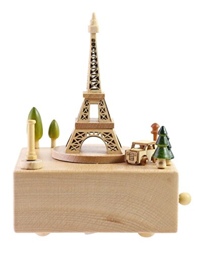 Delightful Quality Wooden Musical Box Featuring Iconic Eiffel Tower with Small Moving Magnetic Car - Plays