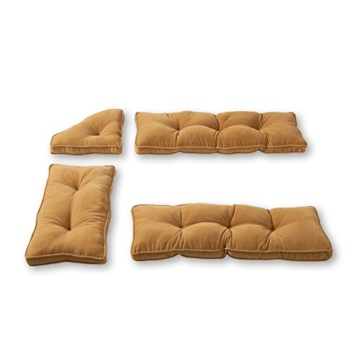 Greendale Home Fashions Cherokee Solid Microfiber Nook Cushion Set, Khaki ,Pack of 4. (Set Nook Breakfast Cushions)