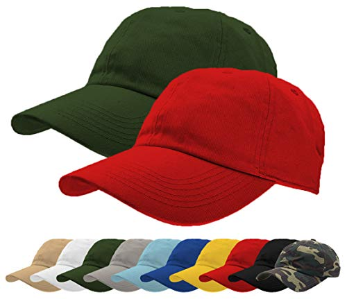 TrueM Clothing Set of 2 Classic 100% Washed Cotton Plain Baseball Caps Dad Hats Polo Style Adjustable Size Unstructured Soft (Dk Green/Red)