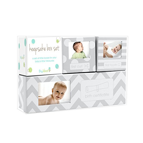 Tiny Ideas Chevron Baby Keepsake Boxes, Gray