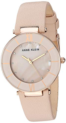 Pearl Mother Of Womans Watch (Anne Klein Women's Quartz Metal and Leather Dress Watch, Color:Pink (Model: AK/3272RGLP))