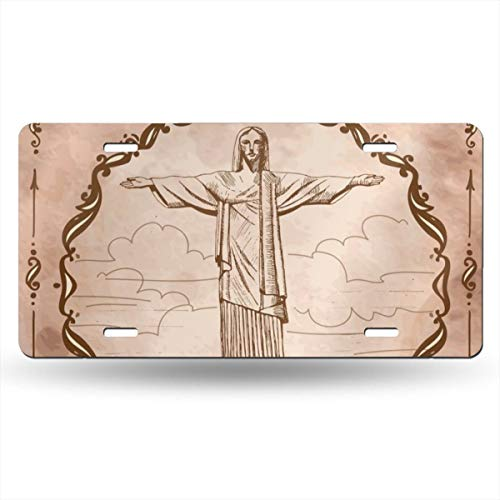 Statue of Jesus Christ in Rio De Janeiro 12x6inch Custom Personalized Metal License Plate Your Name Your State - Choose from All 50 States-Metal License Plate Tag-Florida License Plate (Name Of The Statue In Rio De Janeiro)