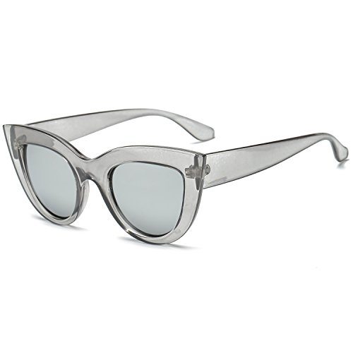 Women's Retro Cat Eye Sunglasses,Fashion Vintage Clout Goggles with Plastic Frame,PC Glasses,UV400 Protection (Gray Silver)