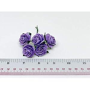 "1"" Purple Paper Flowers Paper Rose Artificial Flowers Fake Flowers Artificial Roses Paper Craft Flowers Paper Rose Flower Mulberry Paper Flowers, 20 Pieces 7"