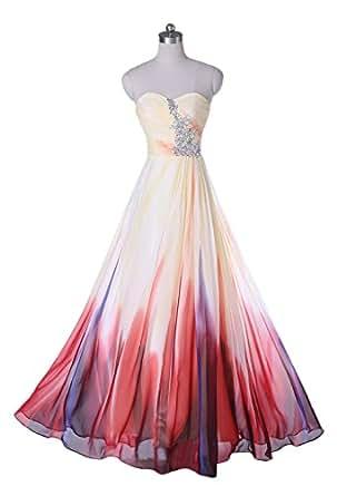 Amazon.com: SUNVARY Colorful Gradient Chiffon Strapless