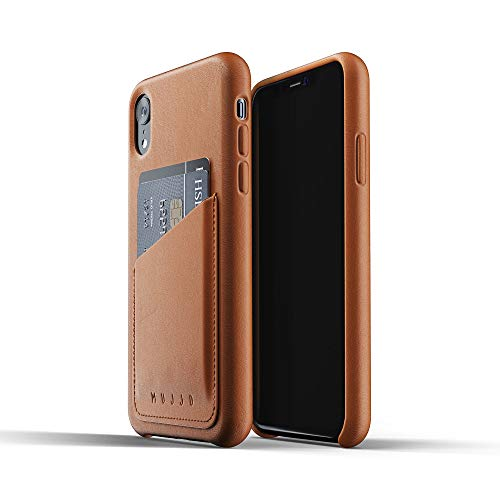 Mujjo Full Leather Wallet Case for iPhone XR | Natural Aging Effect, 2-3 Card Pocket, 1MM Protective Screen Bezel, Japanese Suede Lining (Tan) (Mujjo Leather Iphone Case Wallet)