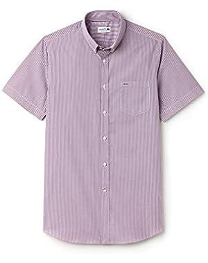 Men's Men's Striped Purple Short Sleeve Shirt in Size 44-XL Purple