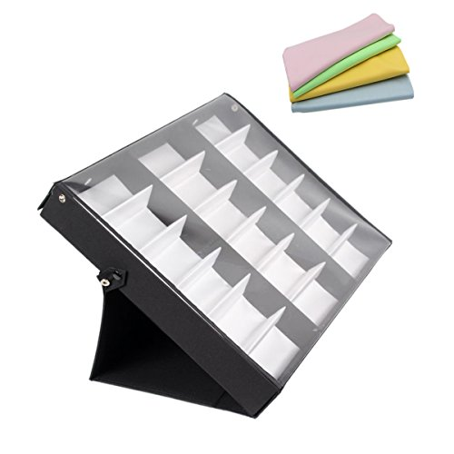 haoun 18 Slot Sunglasses Storage Case Eyeglasses Stand Display Tray Watch Organizer Box + Cleaning - Sunglasses Case Multiple For Glasses