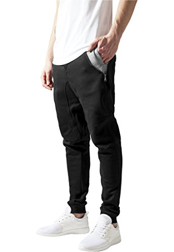 Side Zip Contrast Pocket Sweatpant blk/gry S
