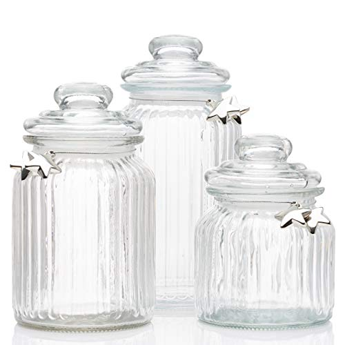 Aviro Home Glass Apothecary Jars with Lids - Cookie Jar, Candy Jar, Glass Kitchen Canisters, Wedding Centerpieces for Tables. Bathroom Organizer. Set of 3 Glass Jars with Gift Box.