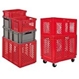 24''L x 16''W x 16-1/2''H Red Container w/Mesh Sides & Base (1 Container)