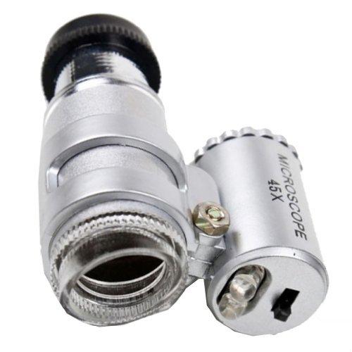 Sonline 45X Mini Pocket Microscope Magnifier Magnifying Glass Jeweler Loup 2 LED Light 007270