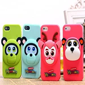 Lovely Bear Monkey Deer Bloom Family Silicone Case For iPhone 4 4S --- Animal:White
