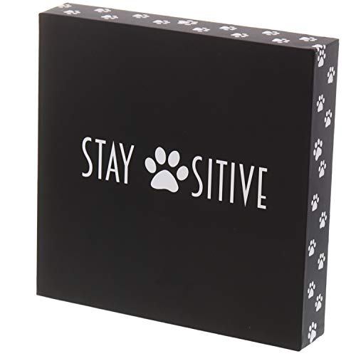 "Barnyard Designs Stay Positive Cat and Dog Box Sign Rustic Wood Motivational and Inspirational Quote Wall Decor 8"" x 8"""