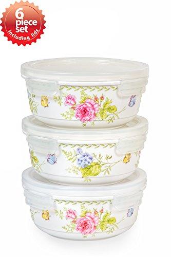 Ceramic Oven Safe Bowls (Lock & Lock Ceramic Bowl Round Large 610ml / 20oz Ashley Pattern Oven, Microwave and Diswasher Safe 6piece Set)