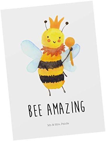 Mr. & Mrs. Panda Ansichtskarte, Einladung, Postkarte Biene König mit Spruch - Farbe Weiß