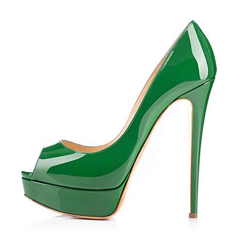 Arc-en-Ciel zapatos de plataforma de la mujer peep toe de tacón alto Verde