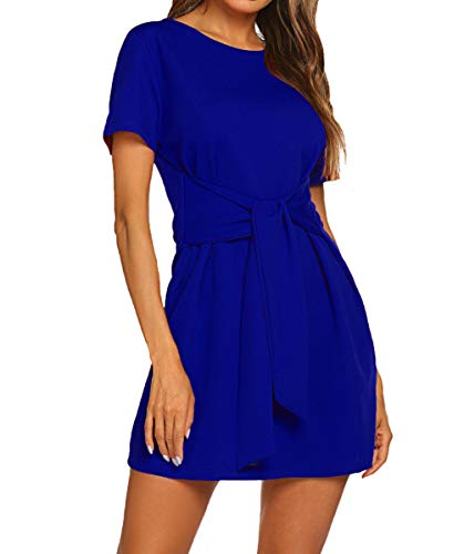 LuckyMore Women Casual Summer Tie Front Knot Short Sleeve Pencil Dresses Royal Blue M