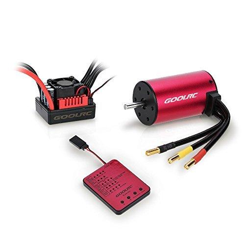 Original GoolRC S3650 3900KV Sensorless Brushless Motor 60A Brushless ESC and Program Card Combo Set for 1/10 RC Car Truck (1 10 Brushless Combo)
