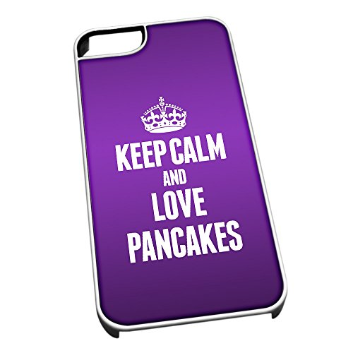 Bianco cover per iPhone 5/5S 1340 viola Keep Calm and Love pancakes