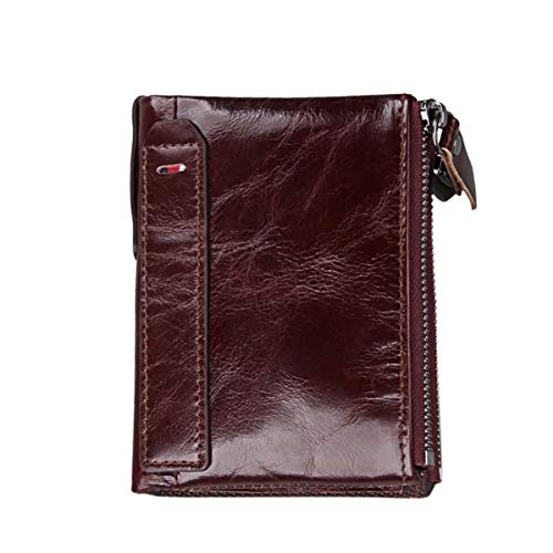 (Men's Genuine Leather Zipper Wallets - RFID Blocking Vintage Crazy Horse Leather Bifold Wallets for Men(Wine Red))