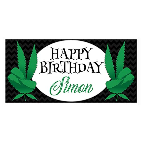 Marijuana Black Birthday Banner Personalized Party Backdrop Decoration (Joint Banner)