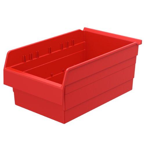 Akro-Mils 30808 ShelfMax 8 Plastic Nesting Shelf Bin Box, 18-Inch x 11-Inch x 8-Inch, Red, 4-Pack by Akro-Mils