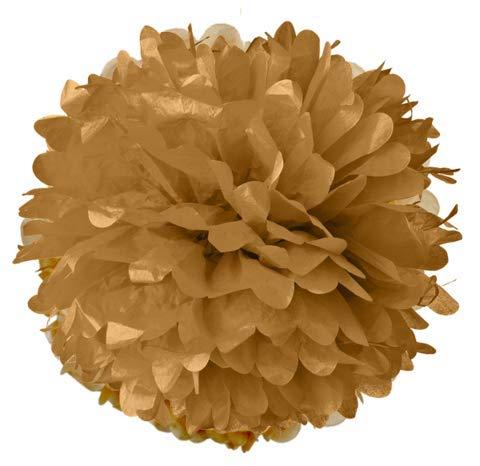 LANTERNS AND MORE 20 Inch Gold Tissue Pom - Lanterns Rice Eyelet Paper