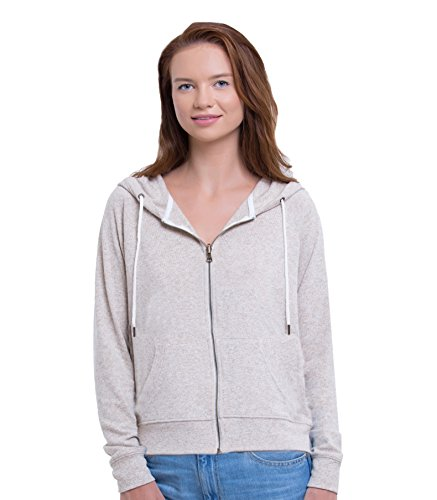 - Friday Chic Women's Faux Cashmere Zip up Hooded Jacket (Medium, Oatmeal Heather)