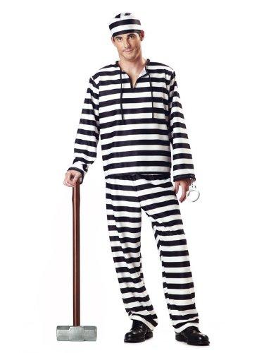 Jailer Halloween Costume (Men's Jailbird Prisoner Costume (Large/Black &)