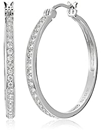 "Sterling Silver Cubic Zirconia Hoop Earrings  (1.2"" Diameter)"