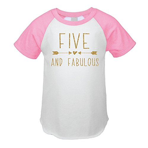 Bump and Beyond Designs Fifth Birthday Outfit Girl Five Year Old Girl Birthday T-Shirt (5T, Pink Raglan) by Bump and Beyond Designs
