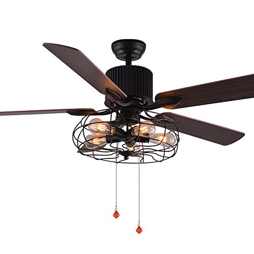 AndersonLight Industry Ceiling Fan 52 Inch Metal Cage Light Fan Indoor Black Super Silent Ceiling Fan Light Kit Remote Wood Vintage Low Ceiling Fan with Brazilian Cherry/Stained Oak Blades, 52-Inch ()