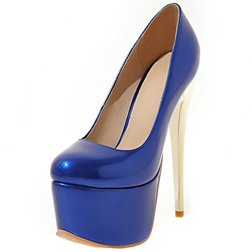 ENMAYER Frauen Blau#18 Lackleder Sexy Plattform Stiletto Super High Heels  Runde und Peep Toe