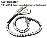 """42'' Long 1/2"""" Diameter Black & White Combination Naked Soft Genuine Leather Motorcycle Get Back Whip"""