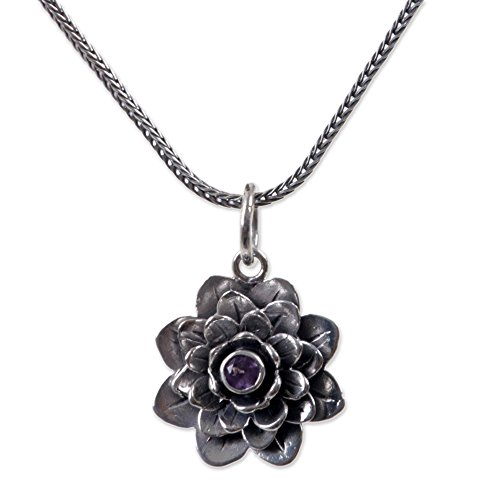 NOVICA Sterling Silver and Amethyst Hand Made Flower Pendant Necklace, 17