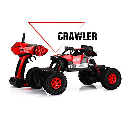 SainSmart Jr. RC Cars 1:16 Remote Control High Speed Racing Car Electric Toy Crawler 4 WD 2.4GHz RC Vehicles with Rechargeable Batteries for Kids, Red ()