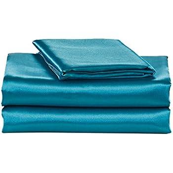 Amazon.com: 4-Pc 400TC Satin Bed Sheet Pillowcase Set DP
