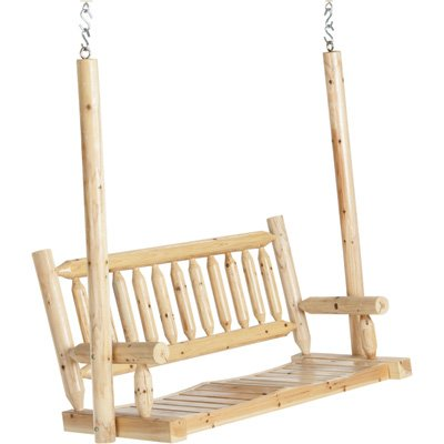 Deluxe Cedar Log Hanging Porch Swing