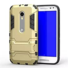 Moto G 3rd Gen Case,Gift_Source [Dual Layer Design] TPU+Hard case Hybrid Combo Armor Defender Rugged Protective Case With Built-in Kickstand For Motorola Moto G3 (3rd Generation) [Gold]