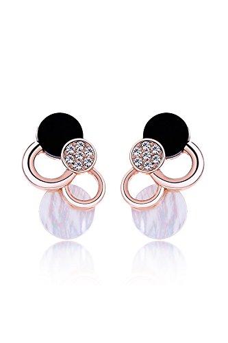 Hypoallergenic Diamond Rose Gold Geometric White Crystal Earrings Earring Dangler Eardrop Ear Jewelry Seashells (Rose Gold