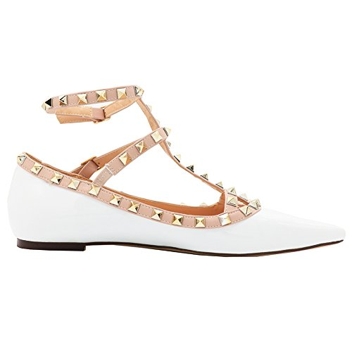 patent Flats Shoes Ballets Ankle Flats Toe Straps Pointed Ballet Rivets Women's MERUMOTE White gq7wRqE