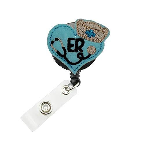Cute Stethoscope,ER Nurse Felt Retractable ID Badge Reel Name Tag Clip Holder (Blue)