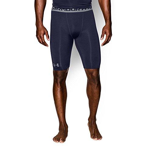 Under Armour Men's HeatGear Armour Compression Shorts - Long, Midnight Navy/Steel, Medium