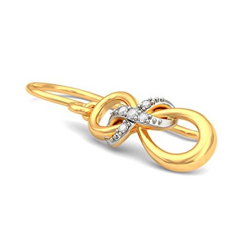 Or jaune 14K 0,06CT TW White-diamond (IJ | SI) Boucles d'oreilles créoles