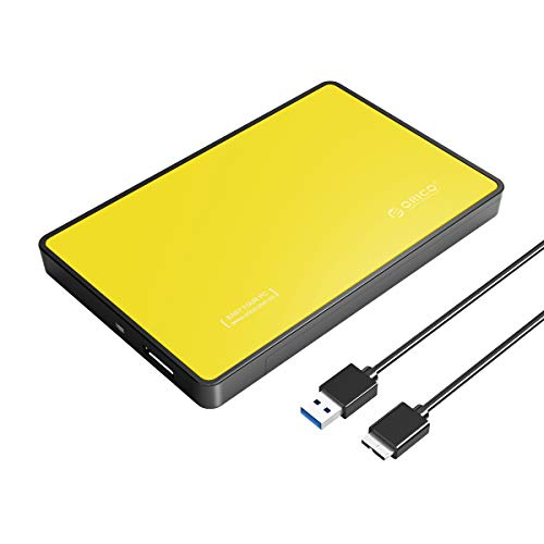 ORICO USB 2.5 Enclosure SATA External Drive Enclosure Portable Hard Disk Case Adapter for 7/9.5mm HDD SSD Tool Free Support UASP Max 4TB Compatible with PS4 Xbox Samsung WD Seagate - Orange