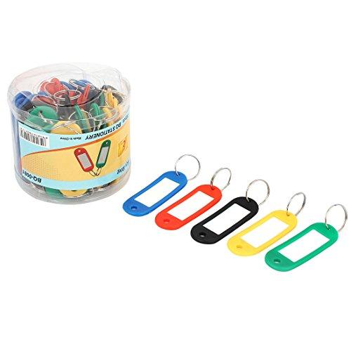 uxcell Plastic Split Ring Keyring Name Card Key ID Label ...